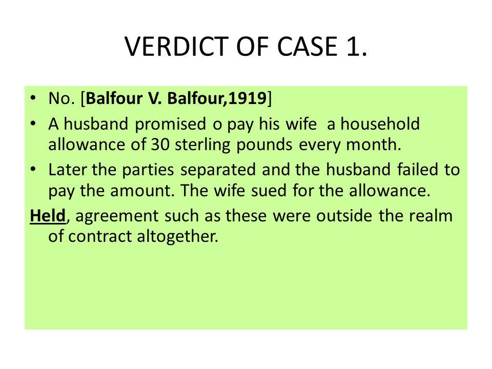 VERDICT OF CASE 1. No. [Balfour V. Balfour,1919]